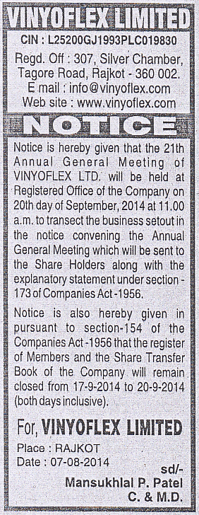 Annual General Meeting - Notices - 2013 - 2014