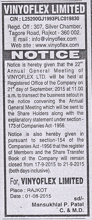 Annual General Meeting - Notices - 2014 - 2015