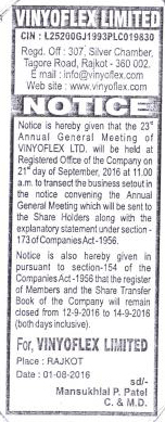 23rd Annual General Meeting - Notice